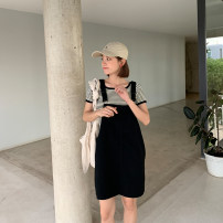 Women's large Summer 2020 black S, m, l, XL, 2XL, 3XL, 4XL Dress singleton  commute easy moderate Socket Korean version Three dimensional cutting 8899# YOBARLA 18-24 years old 81% (inclusive) - 90% (inclusive) Short skirt other