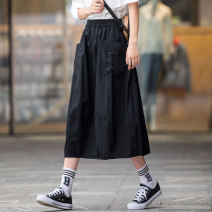 skirt Summer 2021 XS S M L XL 2XL 3XL Black Khaki Green Mid length dress street High waist A-line skirt Solid color Type A 18-24 years old More than 95% other a line cotton Pleated pocket Cotton 100% Pure e-commerce (online only) Sports & Leisure