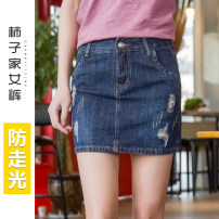 skirt Summer of 2019 Blue, collect baby first delivery + contact customer service more preferential Short skirt Versatile High waist A-line skirt Solid color Type A 25-29 years old More than 95% Denim cotton Holes, pockets, buttons