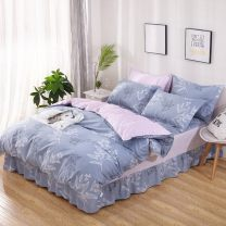 Bedding Set / four piece set / multi piece set cotton Quilting Plants and flowers 128x68 Other / other cotton 4 pieces 40 Bed skirt Qualified products Princess style 100% cotton twill Reactive Print  ziyi-nh