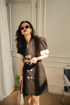 Dress Spring 2021 Black, black reservation XS,S,M,L Mid length dress Two piece set Short sleeve commute tailored collar High waist Solid color other A-line skirt other Others 25-29 years old Type A TOPCLOSET