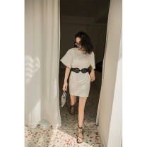 Dress Summer of 2019 white XS,S,M,L Mid length dress singleton  Short sleeve commute Crew neck High waist Solid color zipper A-line skirt 25-29 years old Type A TOP CLOSET Lace up, zipper T19B2160 51% (inclusive) - 70% (inclusive) cotton