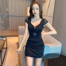 Dress Summer 2021 Black red S M L Short skirt singleton  Short sleeve commute V-neck High waist Solid color Socket One pace skirt other Others 18-24 years old Type H social standing Korean version Pleated asymmetric lace RRXC2464# More than 95% brocade polyester fiber Other polyester 95% 5%