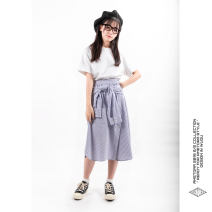 skirt Autumn of 2019 Average size stripe Mid length dress Versatile Natural waist other stripe Type H 25-29 years old More than 95% other Other / other cotton