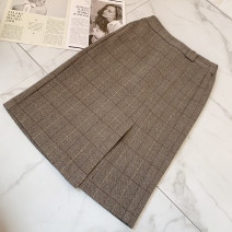 skirt Winter 2020 S,M,L,XL Black gray check, coffee check Middle-skirt grace Natural waist lattice Other / other