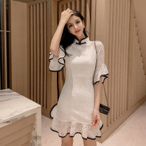 Dress Summer 2021 White black S M L Short skirt singleton  elbow sleeve commute stand collar High waist Solid color zipper Ruffle Skirt Lotus leaf sleeve Others 25-29 years old Type X Ya makeup Retro Ruffle stitching button zipper lace ZYGZ-- 9195# 51% (inclusive) - 70% (inclusive) Lace