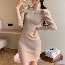 Dress Winter 2020 Black apricot orange S M Short skirt singleton  Long sleeves commute Half high collar High waist Solid color Socket One pace skirt puff sleeve Others 25-29 years old Type X Ya makeup Korean version Pleated thread DJMaster-7255 51% (inclusive) - 70% (inclusive) knitting
