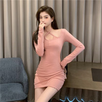 Dress Spring 2021 Black Pink S M L Short skirt singleton  Long sleeves commute other High waist Solid color Socket One pace skirt routine Hanging neck style 25-29 years old Type X Ya makeup Korean version Bow cut open back fold stitching OJFS-357# 51% (inclusive) - 70% (inclusive) other