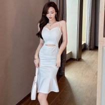 Dress Spring 2021 Black and gray S M L Short skirt singleton  Sleeveless commute V-neck High waist Solid color zipper Ruffle Skirt other camisole 25-29 years old Type X Ya makeup Korean version Bow cut bright silk pleated zipper DXH418AYJR-689# 91% (inclusive) - 95% (inclusive) other polyester fiber