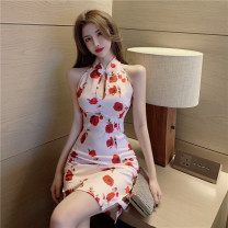 Dress Spring 2021 rose S M L XL Short skirt singleton  Sleeveless commute stand collar High waist Decor Socket One pace skirt other Hanging neck style 25-29 years old Type X Ya makeup Korean version Patchwork printing HHHSS--5123# 51% (inclusive) - 70% (inclusive) other polyester fiber