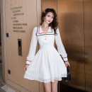 Dress Spring 2021 white S M L XL Short skirt singleton  Long sleeves commute Admiral High waist Solid color zipper A-line skirt routine Others 25-29 years old Type A Ya makeup Korean version Stitching buttons 51% (inclusive) - 70% (inclusive) other polyester fiber Polyester 55% other 45%