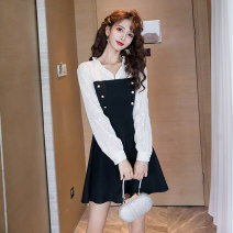 Dress Spring 2021 black S M L XL Short skirt singleton  Long sleeves commute V-neck High waist Solid color zipper A-line skirt bishop sleeve Others 25-29 years old Type A Ya makeup Korean version Auricular stitching button HCFSSPD-2691 51% (inclusive) - 70% (inclusive) other polyester fiber