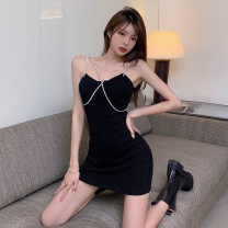 Dress Summer 2021 black S M L Short skirt singleton  Sleeveless commute V-neck High waist Solid color Socket One pace skirt other camisole 25-29 years old Type X Ya makeup Korean version Open back chain fold splicing YYSPD-5107 51% (inclusive) - 70% (inclusive) other polyester fiber