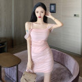 Dress Spring 2021 Pink, grayish blue S M L Short skirt singleton  Sleeveless commute One word collar High waist Solid color Socket One pace skirt raglan sleeve camisole 25-29 years old Type X Ya makeup Korean version Bright silk open back pleated mesh WYZG-8465# More than 95% other polyester fiber