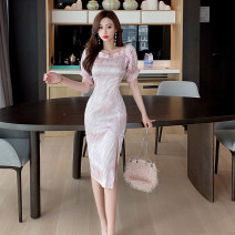 Dress Spring 2021 Apricot light pink S M L Mid length dress singleton  Short sleeve commute One word collar High waist Solid color zipper One pace skirt puff sleeve Breast wrapping 25-29 years old Type X Ya makeup Korean version Open back Auricularia mosaic zipper DXH418AYJR-0870# other