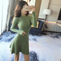 Dress Spring 2021 Green black red One size fits all Short skirt singleton  Long sleeves commute Crew neck High waist Solid color Socket A-line skirt routine Others 25-29 years old Type A Ya makeup Korean version Splicing 51% (inclusive) - 70% (inclusive) knitting polyester fiber