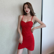 Dress Summer 2020 Red and black S M L Short skirt singleton  Sleeveless commute V-neck High waist Solid color Socket Irregular skirt other camisole 25-29 years old Type X Ya makeup Korean version Asymmetric splicing of open back folds XYXGYD-  9188 51% (inclusive) - 70% (inclusive) other
