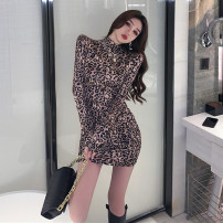 Dress Spring 2021 Leopard Print S M L Short skirt singleton  Long sleeves commute High collar High waist Leopard Print Socket One pace skirt routine Others 25-29 years old Type X Ya makeup Korean version Pleated print XWFC-2027# 51% (inclusive) - 70% (inclusive) other polyester fiber