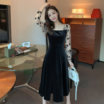 Dress Spring 2021 black S M L XL Mid length dress singleton  Long sleeves commute square neck High waist Decor zipper A-line skirt routine Others 25-29 years old Type A Ya makeup Korean version Pleated mesh zipper printing XYJ-9509# 51% (inclusive) - 70% (inclusive) other polyester fiber