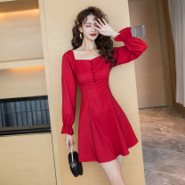 Dress Spring 2021 gules S M L XL Short skirt singleton  Long sleeves commute square neck High waist Solid color zipper A-line skirt bishop sleeve Others 25-29 years old Type A Ya makeup Korean version Button zipper with open back stitching HCFSSPD -2651 51% (inclusive) - 70% (inclusive) other