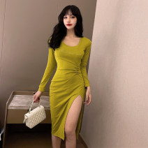 Dress Spring 2021 Black yellow S M L XL Mid length dress singleton  Long sleeves commute Crew neck High waist letter Socket One pace skirt routine Others 25-29 years old Type X Ya makeup Korean version Embroidery fold stitching MW-1067-1# 51% (inclusive) - 70% (inclusive) other polyester fiber