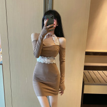 Dress Autumn 2020 Black Khaki S M L XL Short skirt singleton  Long sleeves commute One word collar High waist Solid color Socket A-line skirt routine Hanging neck style 25-29 years old Type A Ya makeup Korean version Open back lace PLLFS-7397# 51% (inclusive) - 70% (inclusive) other polyester fiber