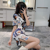 Dress Spring 2020 white S M L Short skirt singleton  Short sleeve commute V-neck High waist Decor zipper One pace skirt routine Others 25-29 years old Type X Ya makeup Korean version Bow tie tie print YJR-3921# 51% (inclusive) - 70% (inclusive) other polyester fiber Polyester 55% other 45%
