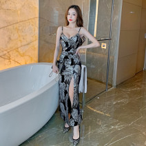 Dress Spring 2021 Picture color S M L Mid length dress singleton  Sleeveless commute V-neck High waist Decor Socket One pace skirt other camisole 25-29 years old Type A Ya makeup Korean version Open back print RRXSC--2263# 51% (inclusive) - 70% (inclusive) other polyester fiber