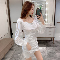 Dress Spring 2021 White black S M Short skirt singleton  Long sleeves commute One word collar High waist Solid color Socket One pace skirt raglan sleeve Others 25-29 years old Type X Ya makeup Korean version Open back pleated stitching KDSJPNZD-5503# 51% (inclusive) - 70% (inclusive) other