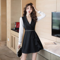 Dress Spring 2021 Black (for breast wrapping) S M L XL Short skirt singleton  Long sleeves commute V-neck High waist Solid color Socket A-line skirt routine Others 25-29 years old Type A Ya makeup Korean version Ruffle stitching HCFSSPD - two thousand seven hundred and forty other polyester fiber