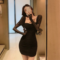 Dress Spring 2021 Black card S M L Short skirt singleton  Long sleeves commute square neck High waist Solid color Socket One pace skirt puff sleeve Others 25-29 years old Type X Ya makeup Korean version Open back pleated mesh akai SP-318# 51% (inclusive) - 70% (inclusive) other polyester fiber