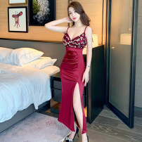 Dress Spring 2021 Black red blue white S M L XL Mid length dress singleton  Sleeveless commute V-neck High waist Solid color Socket One pace skirt other camisole 25-29 years old Type X Ya makeup Korean version Open back fold splicing GMFS - two hundred and fifty-one # other polyester fiber