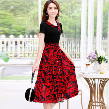 Dress Summer of 2019 Yellow flower red M L XL XXL XXXL Mid length dress singleton  Short sleeve commute Crew neck High waist Decor Socket A-line skirt routine Others 30-34 years old Type A Ouginku / oujinkou lady Resin fixation printing of zipper OJK-218 More than 95% other Other 100%