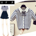 Wool knitwear Summer of 2019 S M L XL Striped pink Beige Navy Striped blue Short sleeve singleton  Cardigan other More than 95% Regular Thin money commute Self cultivation square neck routine stripe Socket Korean version SOM04123 18-24 years old VFP Jacquard lace Other 100%