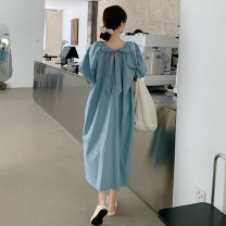 Dress Summer 2021 6645 blue 6645 apricot Average size Mid length dress singleton  Short sleeve commute Crew neck High waist Solid color Socket A-line skirt puff sleeve Others 18-24 years old Qiudei / Qiu die Korean version bow X2021032004 More than 95% other Other 100% Pure e-commerce (online only)