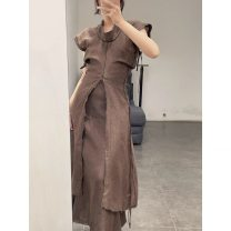 Dress Spring 2021 brown S, M longuette singleton  Short sleeve commute Crew neck middle-waisted Solid color Socket A-line skirt routine 25-29 years old Type A Frenulum cotton