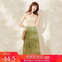 skirt Spring 2021 S,M,L Green (spot) Mid length dress fresh High waist Irregular 18-24 years old Q1167 More than 95% other polyester fiber
