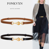 Belt / belt / chain Double skin leather female belt Versatile Single loop Youth Double buckle Glossy surface Glossy surface 3.8cm alloy alone Fonkvxn / wind dancing dust Winter 2020 no