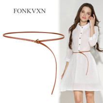 Belt / belt / chain Double skin leather Coffee apricot white red brown black Versatile 0.7cm alloy Fonkvxn / wind dancing dust 78795-3848526 Spring 2021