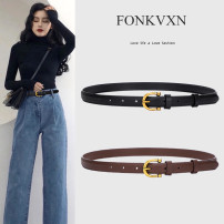 Belt / belt / chain top layer leather Coffee black female belt Versatile Glossy surface Glossy surface alloy Fonkvxn / wind dancing dust 2689862482637514029779804912_ eighty-eight 95cm 105cm Summer 2021