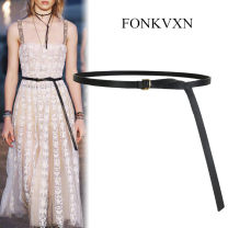 Belt / belt / chain Double skin leather Brown camel grey Beige apricot white red black female soft surface 3.8cm alloy Fonkvxn / wind dancing dust Spring 2021