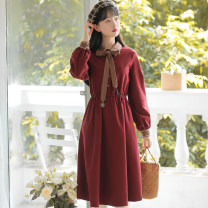 Dress Autumn 2020 Red and black S M L XL Mid length dress singleton  Long sleeves commute Polo collar Elastic waist Solid color Socket A-line skirt routine Others 18-24 years old Type A Han Xuanwei Retro Lace up stitching button HXW4448 More than 95% other other Other 100%