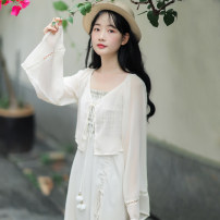 Lace / Chiffon Summer 2020 Apricot S M L XL Long sleeves Sweet Cardigan singleton  easy have cash less than that is registered in the accounts V-neck Solid color pagoda sleeve 18-24 years old Han Xuanwei Frenulum Other 100% Pure e-commerce (online only) Mori