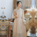 Dress Winter of 2018 Apricot white S M L Mid length dress singleton  Long sleeves commute other High waist Solid color Socket Pleated skirt other Others 18-24 years old Type A Han Xuanwei literature Cut out lace HXW803 More than 95% Lace other Other 100% Pure e-commerce (online only)