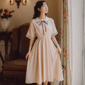 Dress Spring 2021 Green apricot S M L XL XS Middle-skirt singleton  Short sleeve commute Polo collar High waist Solid color Single breasted A-line skirt routine Others 18-24 years old Han Xuanwei literature Bowknot embroidered lace More than 95% other Other 100% Pure e-commerce (online only)