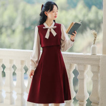 Dress Winter 2020 Blue red black coffee S M L XL Mid length dress singleton  Long sleeves Sweet Scarf Collar High waist Solid color Socket A-line skirt shirt sleeve Others 18-24 years old Type A Han Xuanwei Lace up stitching button HXW4789 More than 95% other other Other 100% Mori
