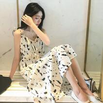 Dress Summer 2020 White, black M,L,XL,2XL Mid length dress singleton  Sleeveless camisole 18-24 years old