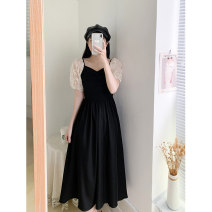 Dress Summer 2021 black S M L XL Mid length dress singleton  Short sleeve commute V-neck High waist Solid color Socket Big swing routine 18-24 years old Type A Xin Yu Retro Cut and sew lace TM9276 More than 95% other Other 100%