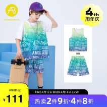 suit AB (mother infant) Decor 110cm 120cm 130cm 140cm 150cm 160cm male summer leisure time Short sleeve + pants 2 pieces routine There are models in the real shooting Socket nothing letter cotton T-A212-002910 Class C Cotton 100% Summer 2021