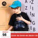 T-shirt black AB (mother infant) 110cm 120cm 130cm 140cm 150cm 160cm male summer Short sleeve Crew neck leisure time There are models in the real shooting nothing cotton Bear Cotton 100% T-A211-006301 Class B Summer 2021